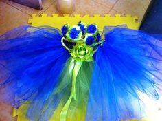 Navy Blue & Green Metallic Tulle  Tutu Skirt