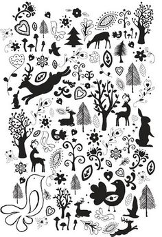 Maybe I can use this to make stencils for a canvas rug <-What previous pinner said. Use as stencils Scandinavian Pattern, Scandinavian Folk Art, Scandinavian Christmas, Nordic Art, Folk Embroidery, Embroidery Designs, Embroidery Sampler, Noel Christmas, Christmas Crafts