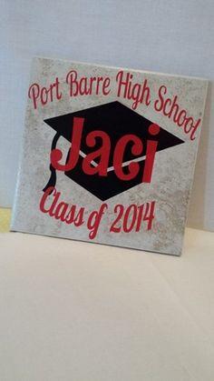 Ceramic Tile Graduation Personalized with school name and grad cap Tile Projects, Vinyl Projects, Circuit Projects, Graduation Gifts, Graduation 2016, Graduation Parties, Graduation Ideas, Ceramic Tile Crafts, Cricut Vinyl