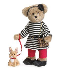 Parisian Stripe Bear Plush Figurine #zulily #zulilyfinds