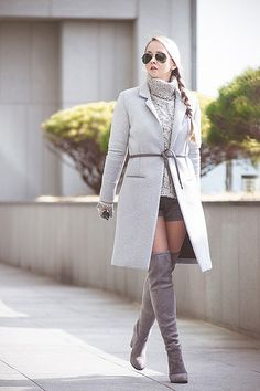 Olga choi fashion blogger myblondegal South Korea smart casual elegant Choies over-knee grey boots Oasap neoprene coat Kate-Kate wristlet ZeroUV aviator sunglasses-08079 | Flickr - Photo Sharing!
