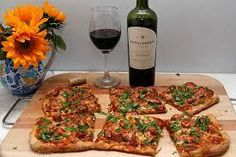 whole wheat pizza and wine