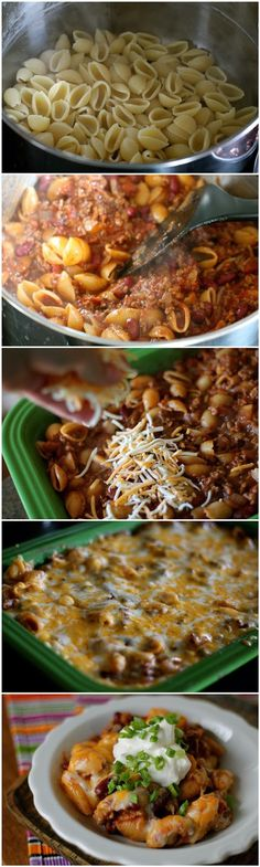 Ingredients:  ½ Tablespoons Canola Or Vegetable Oil 1 pound Ground Beef 1 whole Onion, Chopped 1 dash Salt 1 dash Black Pepper ½ pounds Cooked Pasta 15 ounces, fluid Tomato Sauce 14-½ ounces, weight Diced Tomatoes And Green Chilies 15 ounces, weight Kidney Or Black Beans, Rinsed 1-½ Tablespoon Chili Powder 2 teaspoons Cumin 3 dashes Cayenne Powder ¼ cups Water 2 cups Shredded Cheddar Cheese ½ cups Sour Cream, For Topping 4 Tablespoons Green Onions, Chopped