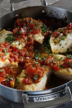 Simple Sicilian Cod..I am crazy about beautiful, fresh cod. Probably my favorite fish. This looks amazing.