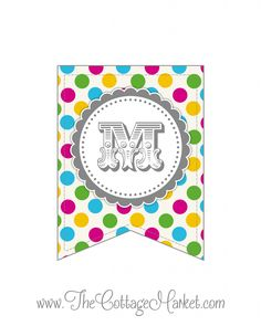 Looking for a colorful polka dot party banner? This free printable banner set of letters and numbers will add delightful pops of color to your party. Alphabet A, Free Printable Banner, Printable Letters, Polka Dot Party, Polka Dots, Party Printables, Free Printables, Bunting Banner, Pennant Banners