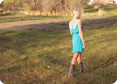 country girl - teal and lace dress with vintage boots