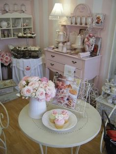 Shabby Everything - pink and white striped walls.