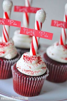 Oh how ADORABLE are these cupcake signs! LOVE the idea of a candy cane stick instead of a toothpick! Christmas Cupcake Toppers, Christmas Cupcakes, Cupcake Signs, Cane Stick, Cool Pins, Candy Cane, Desserts, Tailgate Desserts, Barley Sugar