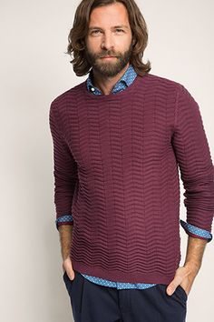 Esprit / Sweater med struktur, 100% bomuld Knitting Stitches, Knitting Patterns, Stitch Patterns, Knitwear, Cable, Men Sweater, Hairstyles, Fashion Outfits, Sweaters