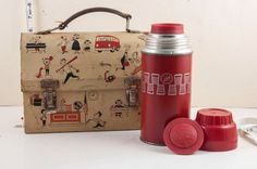 Polly red top, domed schooldays lunchbox w/thermos. Vintage Lunch Boxes, School Days, 1950s, Nostalgia, Retro, Kitchenware, Top, Textiles, Dinner