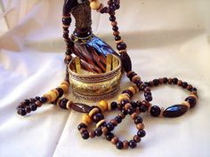 African 60 inch multi colored buffalo bone and wood necklace caj31