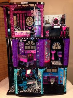 Custom Monster High Ooak Doll House Fully Furnished!! Great Christmas Present!