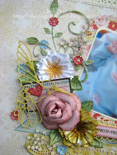 A close-up of the flowers bouquet. Have you checked out the new flower and embellishment dies?! Lace Hummingbird flutters gently above. #cheeryld #jodibaune Dies used: Lace Hummingbird - B194; Francesca - B159; Square - Inverted Scallop LG Stackers Nesting Dies - XL-3; French Flair Classic - LG Silver Stackers - L-12; Sentiment Frame #1 - B189; Build a Flower #2 - B187; Embellishment #2 - B188; Sweet Williams - D137; Fanciful Flourish - B117; (Continued)... http://www.cheerylynndesigns.com