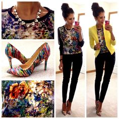 """""""Veronica"""" top c/o Sugar Love Boutique (Exact here)// Yellow blazer c/o TeodoraB (Exact sold out; Similar here, here, & here)// Skinny dress pants (Exact here; Similar here, here, & here)// Multi-color pointy toe pumps (Cute version here; Same here and here on eBay)// Somervell necklace ℅ Stella & Dot stylist Erika Lehman// Skinny black watch (Similar here & here)"""