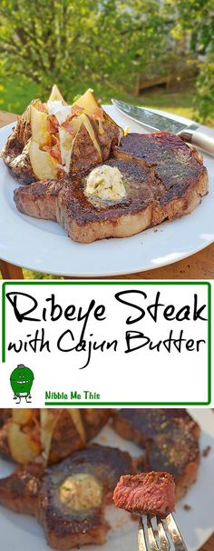 Ribeye Steaks with Cajun Butter - Certified Angus Beef® Brand Ribeyes cooked on a live fire flat top (GrillGrates upside down on at Big Green Egg Mini-Max) and served with a Cajun compound butter. #CertifiedAngusBeef #Sponsor #BestAngusBeef #Steak #Ribeye #GrillGrates #kamado #grilling #BigGreenEgg