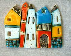 Houses - handmade ceramic art tiles Handmade Ceramic Art Tile Houses by MakedonskaCeramicArt on Etsy Clay Tiles, Ceramic Clay, Ceramic Pottery, Clay Houses, Ceramic Houses, Kintsugi, Handmade Tiles, Handmade Ceramic, Art Rupestre