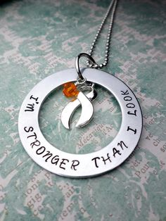 Orange Ribbon Necklace, Leukemia Awareness, MS Awareness, Self Injury, Kidney Cancer, ADHD, Malnutrition Awareness, rsd, CRPS Awareness