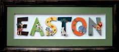 Boys Safari Themed Wood Wall Letters - Personalized 6 Childrens Wall Letters Mounted and Framed