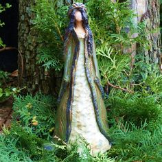 """Sculpture ceramic elf figure """"Princess in the magic forest"""" hand-modeled single piece - statue Pottery Sculpture, Sculpture Clay, Garden Sculpture, Art Sculptures, Ceramic Figures, Ceramic Art, Plaster Hands, Clay Angel, Sculptures"""