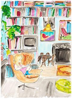 Reading girl painting. Wall art girl in study room. Artwork Books. Little girl painting. Girls room decor. Girl loves books. Fireplace art