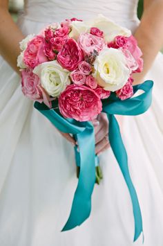 pink bouquet- love the turquoise ribbon accent! // photo by Cindy & Saylor | Photographers