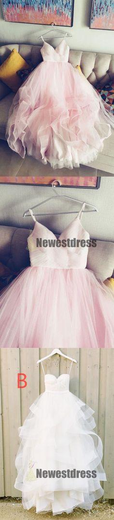 Pink Simple Spaghetti Straps V Neck Tulle Prom Dresses, bridal dress ,Party dresses, PD0318