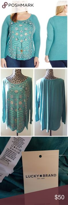NEW Plus Size Lucky Brand Flower Frame Top Brand new with tags  Lucky Brand women's plus size long sleeve fashion knit tee with floral graphic print on body 50% Polyester, 37% Cotton, 13% RayonImported Machine Wash Scoop neckline Long sleeves Color is teal or a bluish green.  20% off bundles or Make me an offer I'm never offended by any offer.  No trades Lucky Brand Tops Tees - Long Sleeve