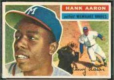 1956 Topps Hank Aaron (Braves) Baseball card The action photo on the front incorrectly pictures Willie Mays! Braves Baseball, Sports Baseball, Baseball Players, Mlb Players, Baseball Stuff, Softball, Hockey, Batting Average, Hank Aaron