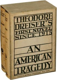 An American Tragedy (1925) by Theodore Dreiser, first edition book cover
