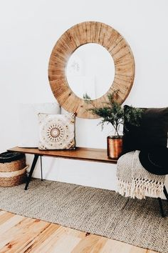 oversize round wood mirror with a midcentury modern style bench and cozy pillows and throws to add warmth(Mix Wood Living Room) Home Interior, Decor Interior Design, Asian Interior, Eclectic Design, Interior Designing, Interior Ideas, Round Wood Mirror, Circular Mirror, Round Mirrors
