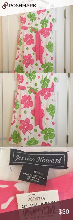 New dress 👗 size 8 Jessica Howard New w/ tags. Size 8👗 dress Jessica Howard.  White with a pink ribbon at the waist green and pick flowers 🌺 and dots Jessica Howard Dresses