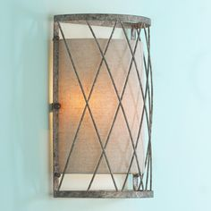 Lattice with Linen Shade SconceProduct SKU: SC12047 GY  Price:  $159.00 shades of light