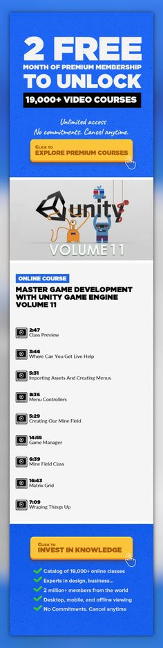 Master Game Development With Unity Game Engine Volume 11 Technology, Programming, Web Development, Game Design, Unity, Unity 3D, Unreal Engine #onlinecourses #CoursesDIY #skillspreschool   Remember the mines game you played on windows? Well in this part of our Game Development series we are going to create that game, which is called minesweeper. The game is simple, we have a mine field, and we hav...