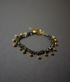 Black and Gold Bracelet Gunmetal Bracelet Fringe Bracelet - Union. $40.00, via Etsy.