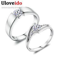 5% de descuento uloveido 2 unids de color plata de la joyería cubic zirconia de boda Par Anillo de Compromiso anillos para Las Mujeres Joyería de Los Hombres de Tamaño 12 J045