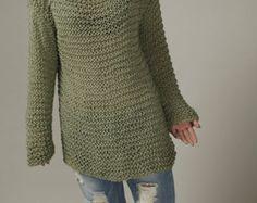 Teje a mano la túnica suéter gris eco algodón mujer por MaxMelody
