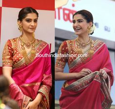 Sonam Kapoor in Abu Jani Sandeep Khosla at Kalyan Jewellers Store Launch photo Call/WhatsApp for more details Purchase Indian Dresses, Indian Outfits, Indian Clothes, Wedding Saree Blouse, Bridal Lehenga, Indian Attire, Indian Wear, Bridal Blouse Designs, Saree Styles