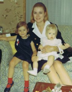 the Princess with goddaughter Grace Dale, right, and daughter Stephanie in 1968...