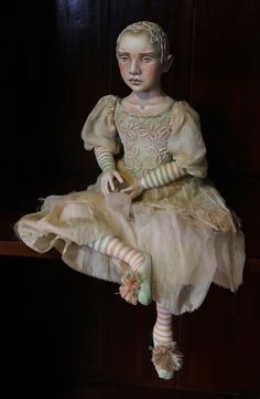"""Luna"" - Cloth doll; simple joints; wired fingers; cloth over clay head; applied lace texture on bodice and head; stained silk/cotton clothing. painted with artist's acrylics"