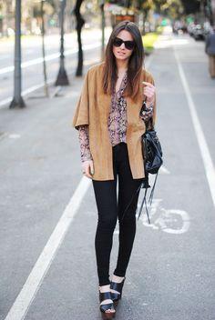suede kimono with clogs