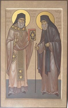 St Porphyrius and St Paisius Byzantine Icons, Byzantine Art, Religious Icons, Religious Art, Faith Of Our Fathers, New Saints, Religious Paintings, Best Icons, Art Icon