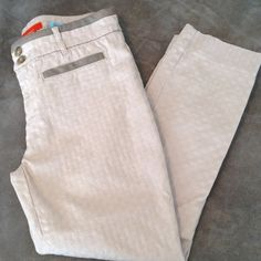 Anthropologie Cartonnier Charlie Ankle Pants Great pair of pants. Has a seam down the back of the legs. Faux leather accents show some wear. Cute pattern in the fabric. Light khaki color. Anthropologie Pants Ankle & Cropped