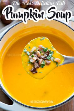 The most creamy, delicous Pumpkin Soup full of all flavors! #pumpkinsoup #basilpumpkinsoup #easypumpkinsoup #nocreampumpkinsoup Italian Recipe Book, Italian Soup Recipes, Cream Soup Recipes, Cream Of Pumpkin Soup, Canned Pumpkin, Pumpkin Puree, Liquid Meals, Roasted Chestnuts, Recipes