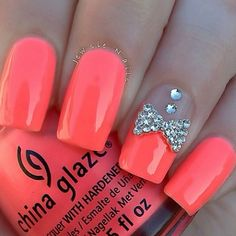 Nail Art for this Spring is really exciting! Check out 5 of the coolest nail designs you can try this Spring for fabulous nails. Cute Nail Art, Cute Nails, Pretty Nails, My Nails, Pink Nails, Neon Nails, Orange Nails, Jewel Nails, Bright Nails