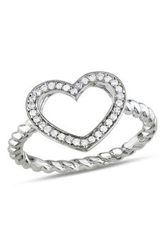 Diamond & Sterling Silver Heart Ring - Beyond the Rack