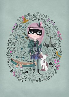 Spy Girl....Giclee print of an original illustration.  I LOVE this illustration!!