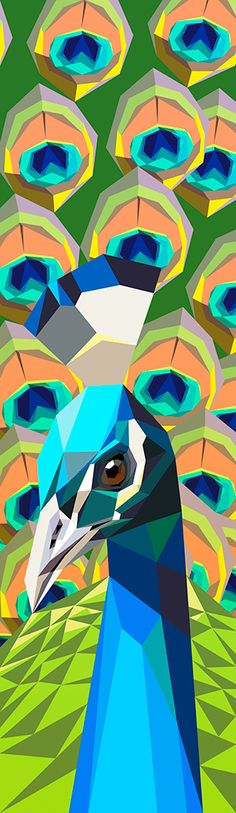 Peacock . Low poly Fabulous.