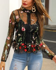 Floral Embroidery Sheer Mesh Blouse fashion fashion fashion fashion f Trend Fashion, Look Fashion, Fashion Outfits, Fashion Edgy, Fashion Spring, Classy Fashion, Fashion Vintage, Grunge Fashion, Korean Fashion