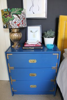 IKEA Rast hack from Swoonworthy - campaign furniture inspired in blue with brass hardware
