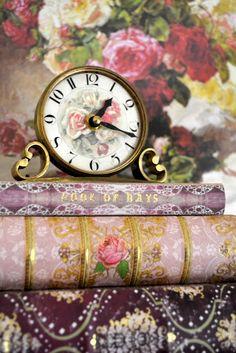 Shabby Cottage Clock and Books Vignette Estilo Shabby Chic, Shabby Chic Decor, Decoupage, Foto Gif, Antique Clocks, Rose Cottage, Shabby Cottage, Jewel Tones, Love Book